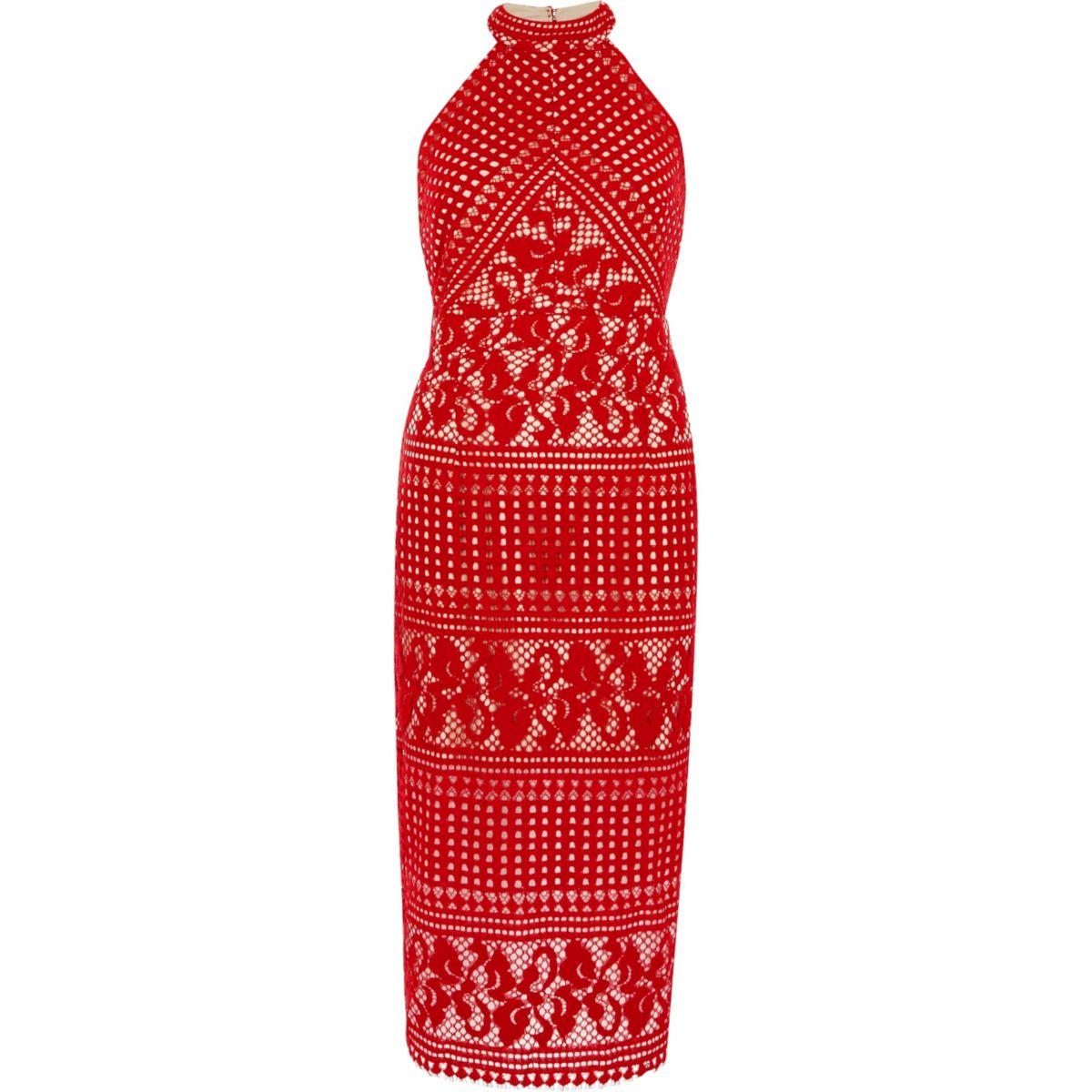 Red lace high neck midi bodycon dress