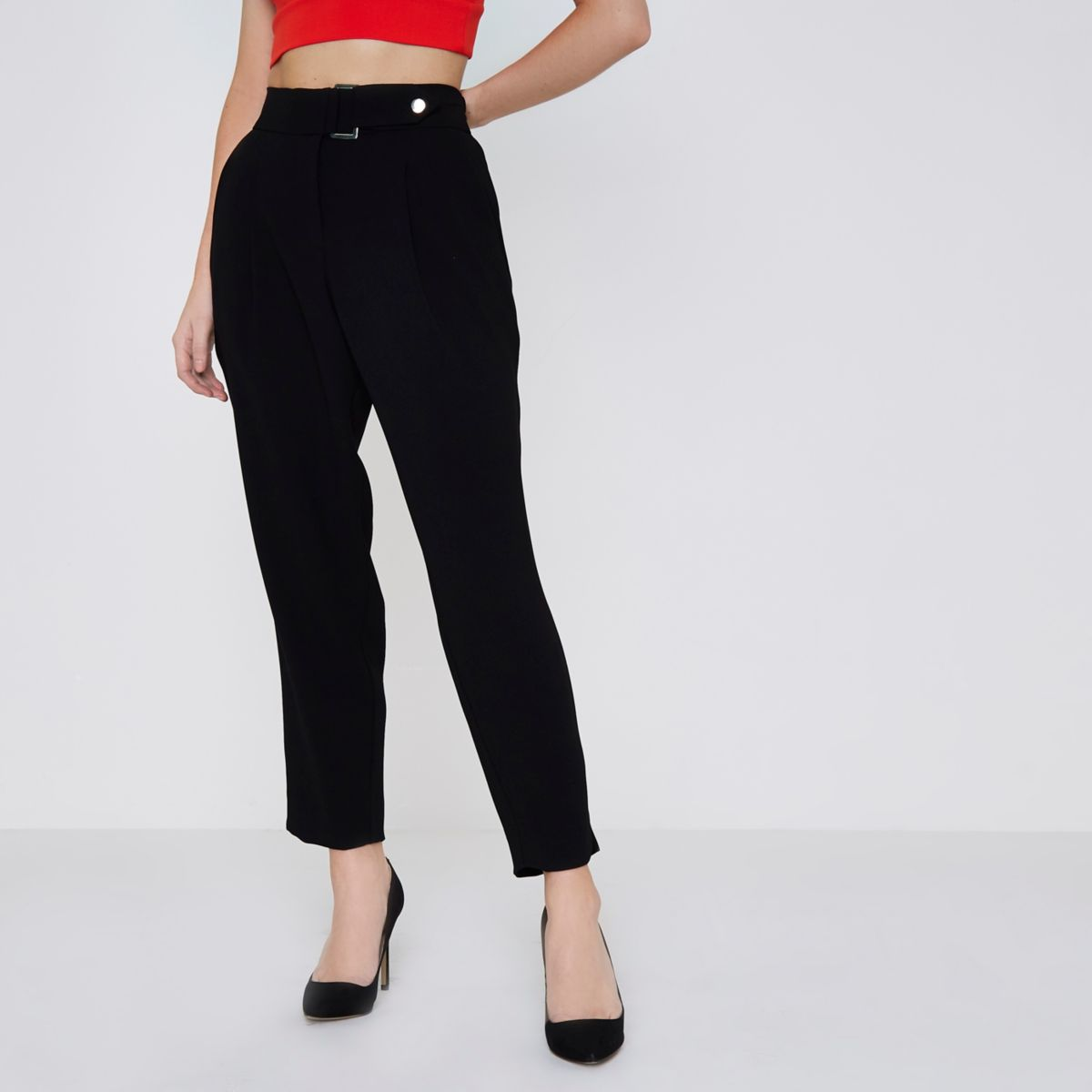 petite black dring belted tapered trousers tapered