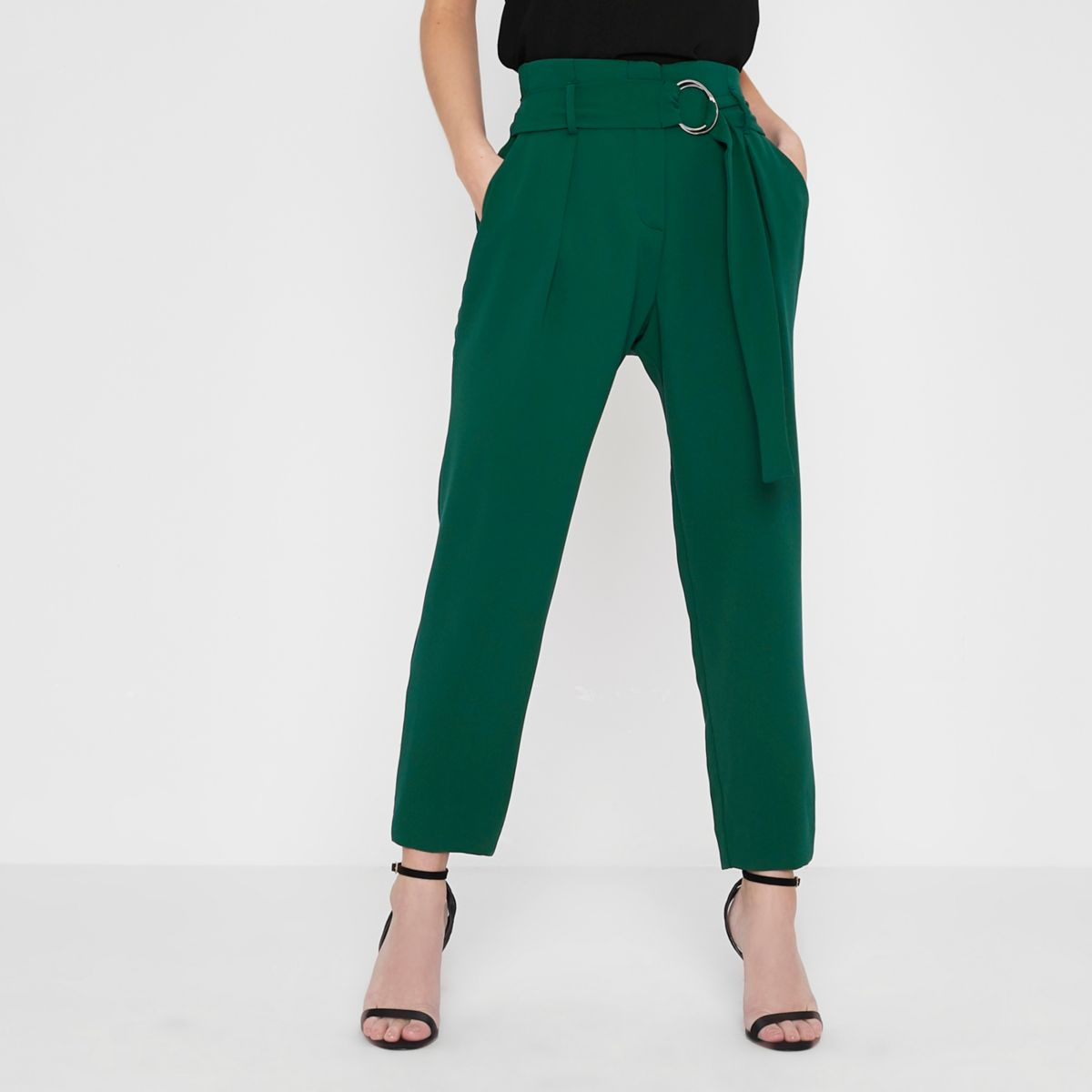 Petite dark green ring belt tapered pants