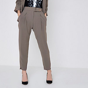 Petite grey buckle waist tapered trousers
