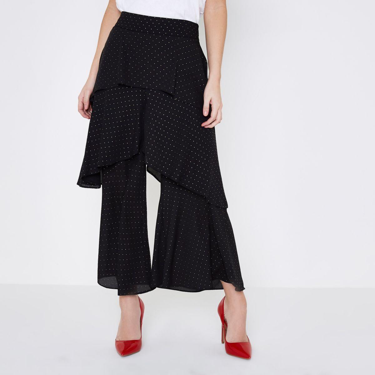 Petite black polka dot rara layer culottes