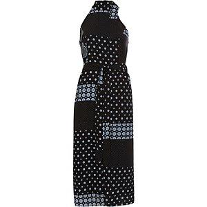 Blue tile print high neck waisted midi dress