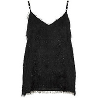 Black fringed faux pearl strap cami top