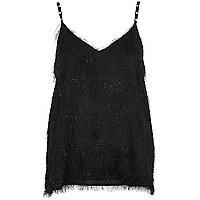 Zwarte cami top met franje en imitatieparels op de bandjes