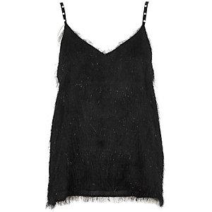Schwarzes Camisole mit Kunstperlenträger