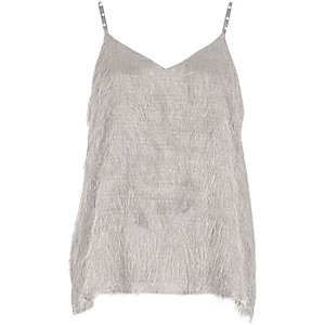 Grey fringed faux pearl strap cami top