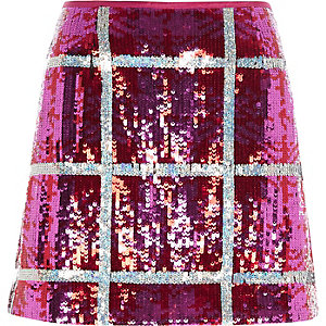 Bright pink sequin check mini skirt
