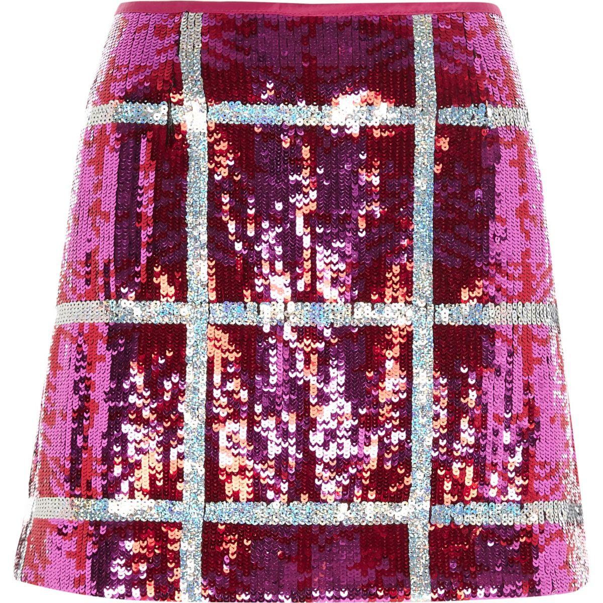 Bright pink sequin check mini skirt