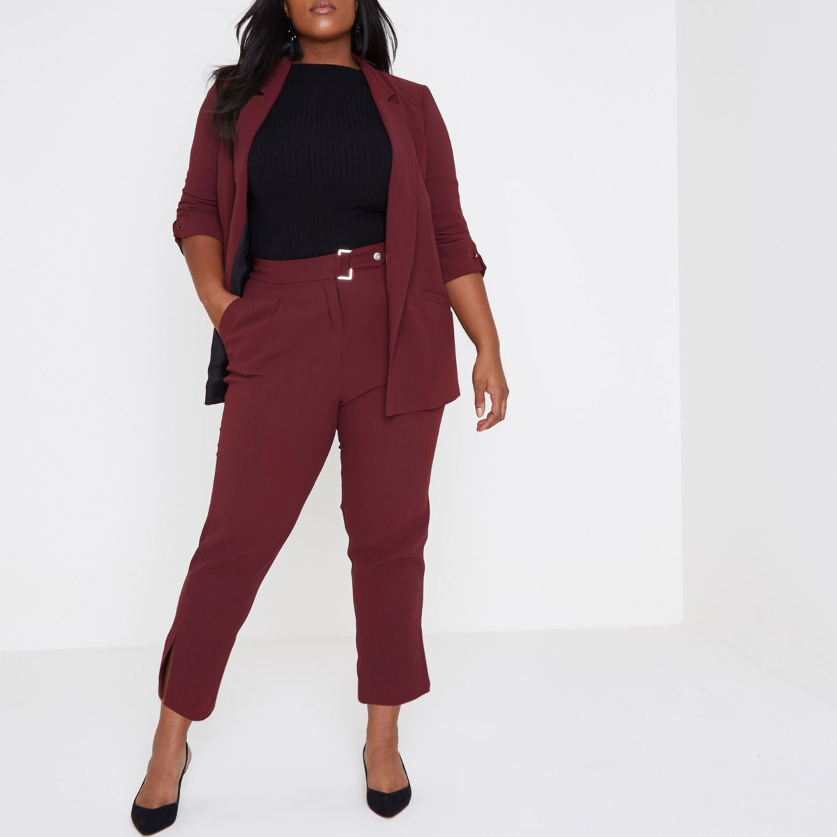 Plus dark red tapered pants