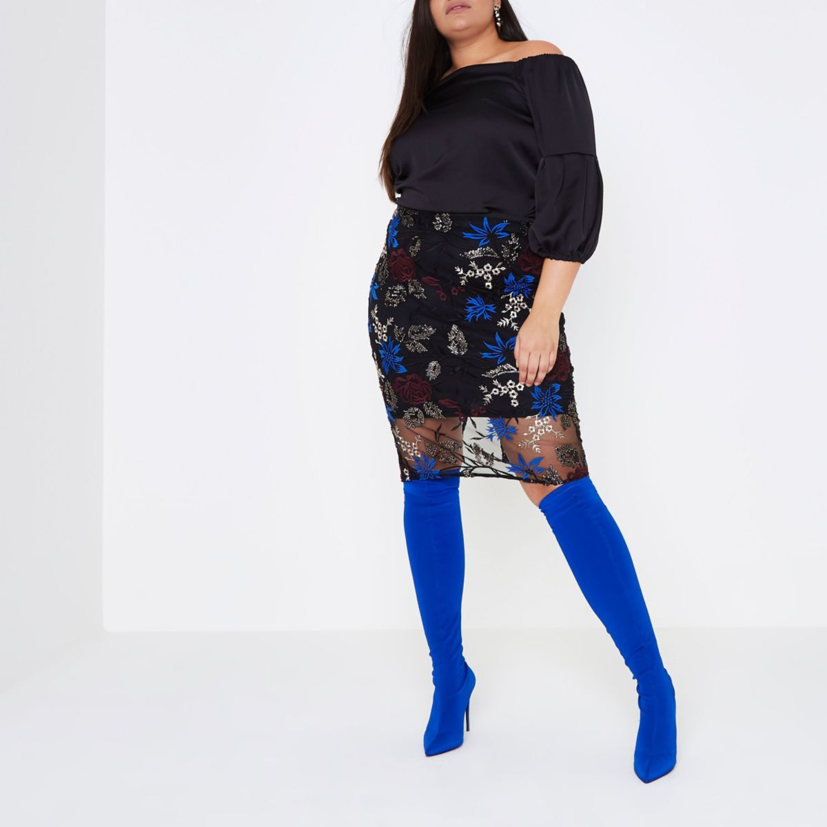 Plus black floral embroidered pencil skirt