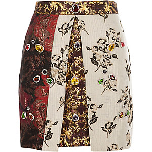 Red jewel embellished jacquard A line skirt