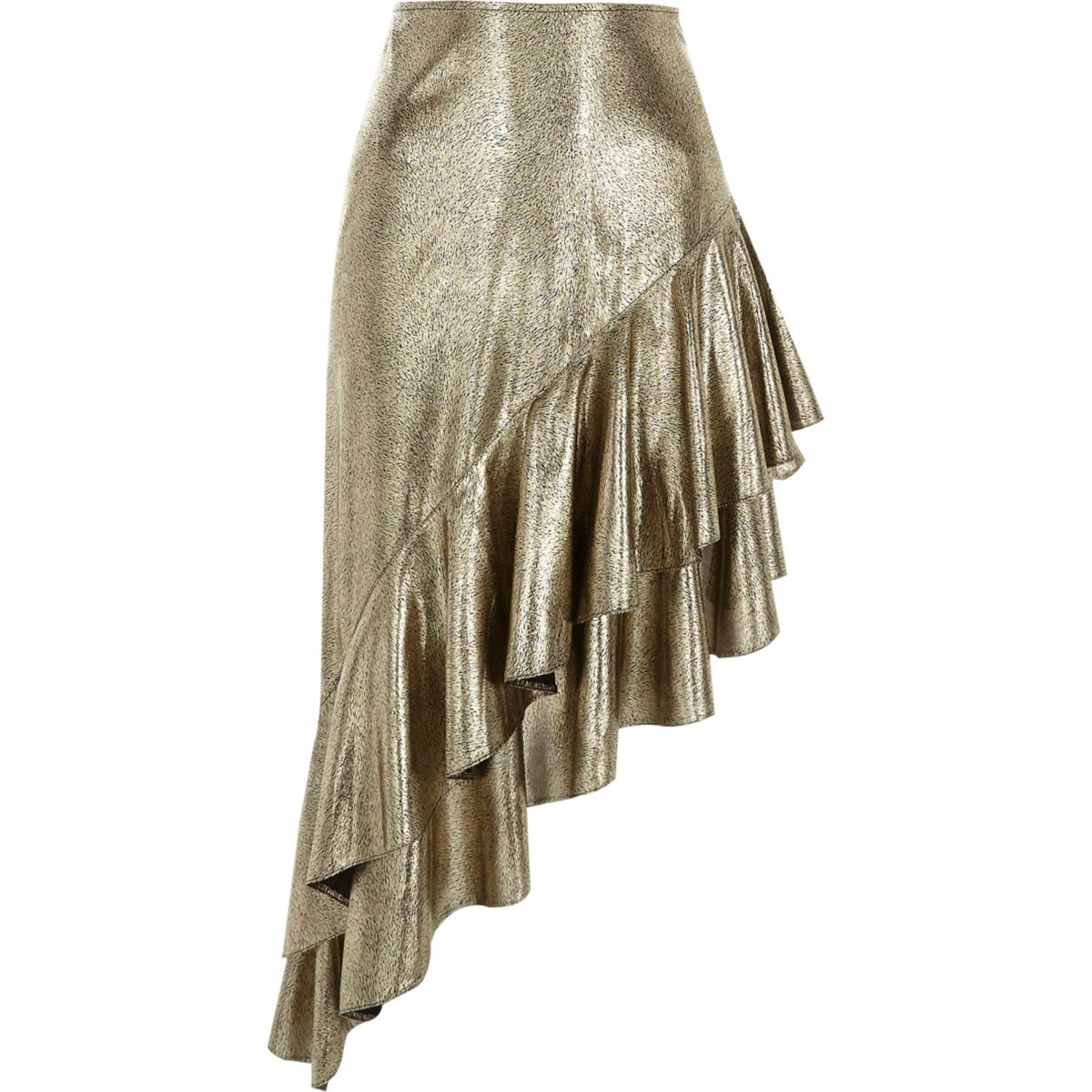Gold metallic asymmetric frill hem skirt