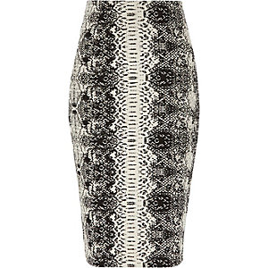 Black snake jacquard pencil skirt