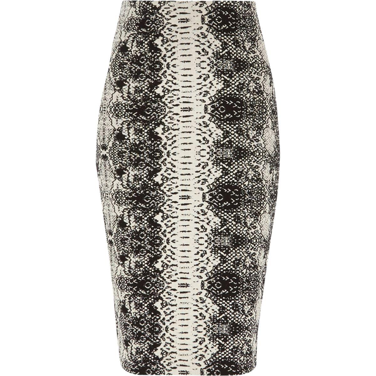 Black snake jacquard pencil skirt