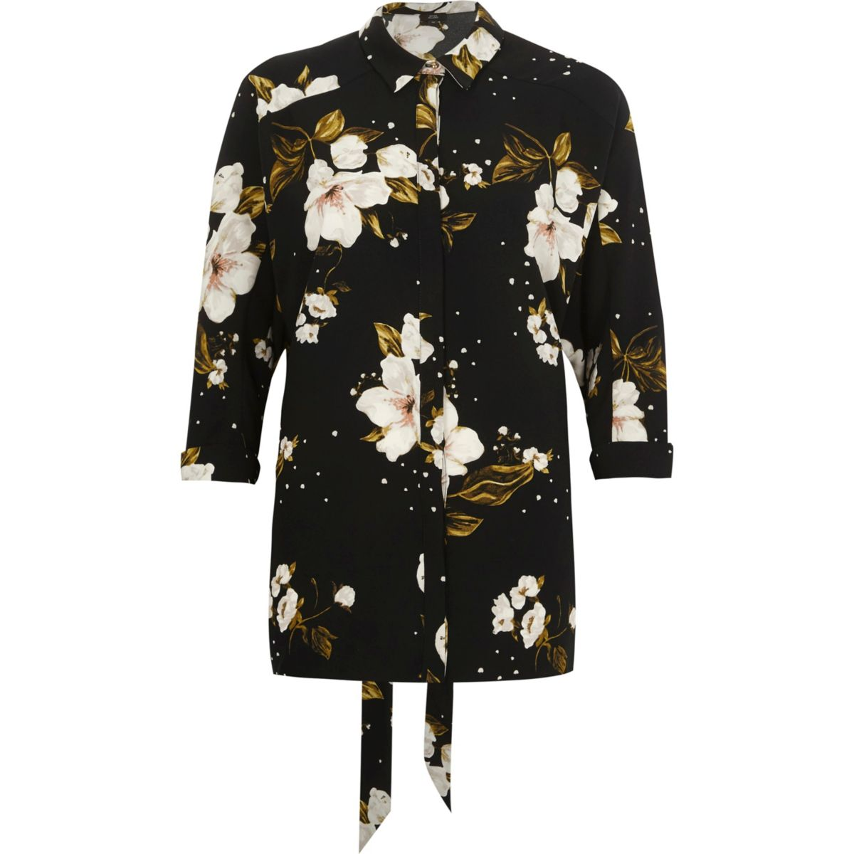 Black floral print oversized shirt shirts tops women for Black floral print shirt