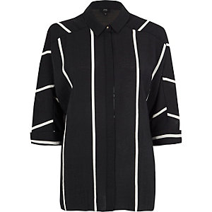 Black stripe oversized shirt