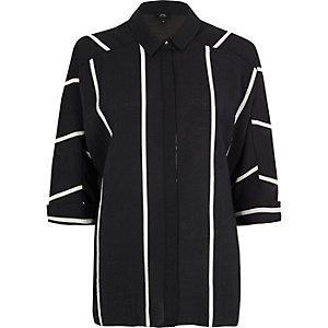 Chemise oversize noire rayée