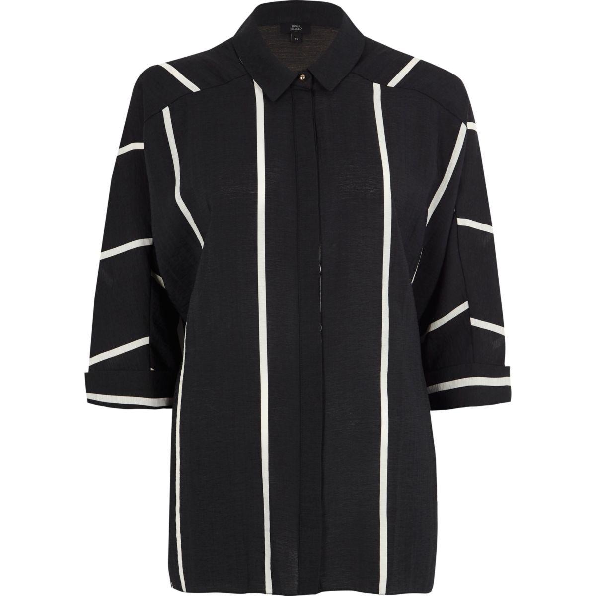 Black stripe oversized shirt
