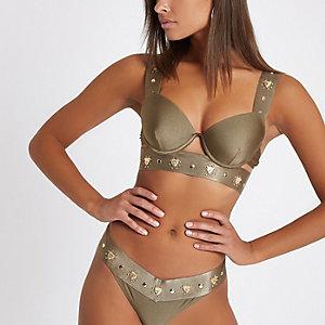 Kaki diep uitgesneden bikinitop met bandjes , studs en cheetah-print