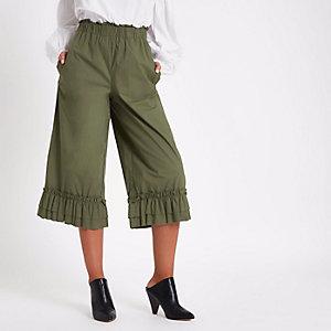 Hosenrock in Khaki mit weitem Beinschnitt