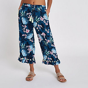 Navy pineapple print pom pom  beach culottes