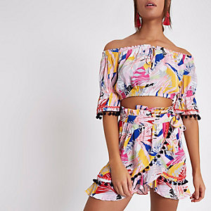 Pink tropical co-ord wrap beach skirt
