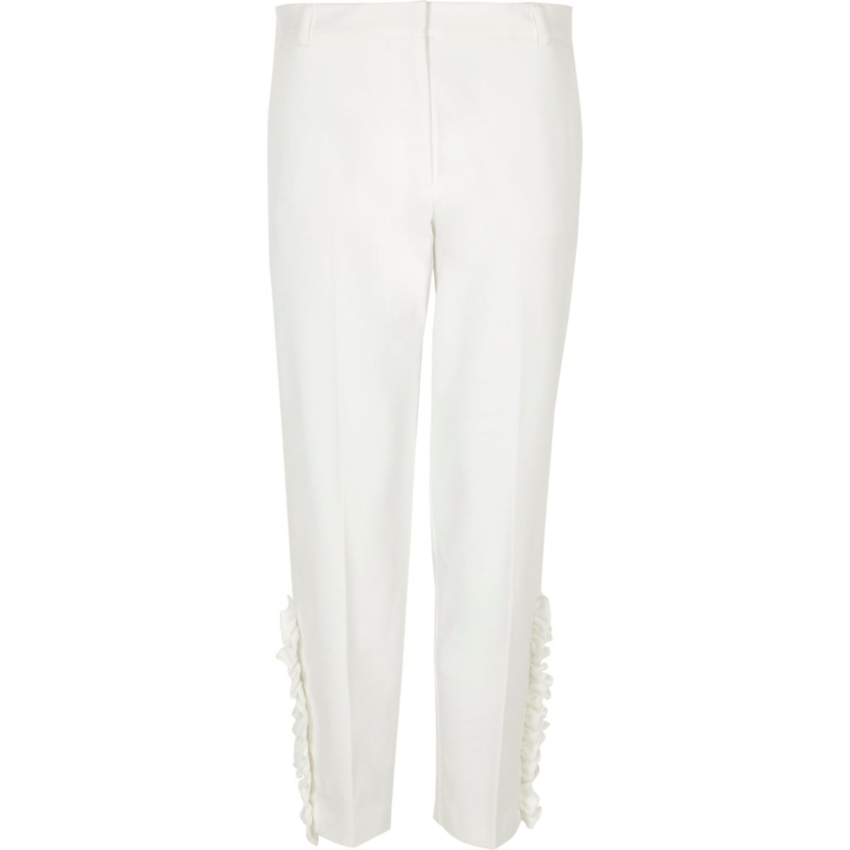 Pantalon cigarette blanc à volants orné de fausses perles