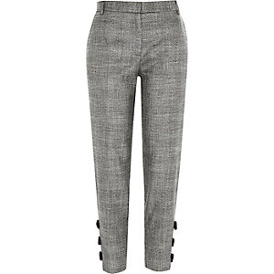 Grey check bow hem cigarette trousers