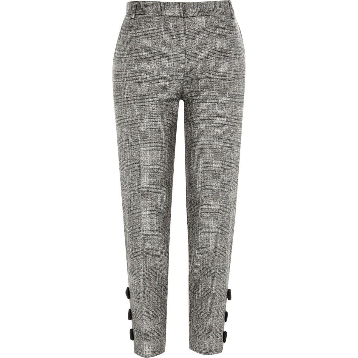 Grey check bow hem cigarette trousers
