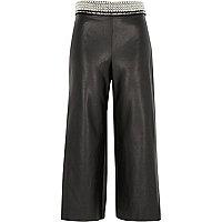 Black faux leather embellished waist culottes