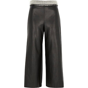 Black faux leather embellished waist culottes