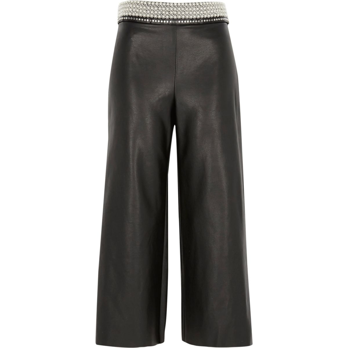 Schwarzer Hosenrock aus Lederimitat