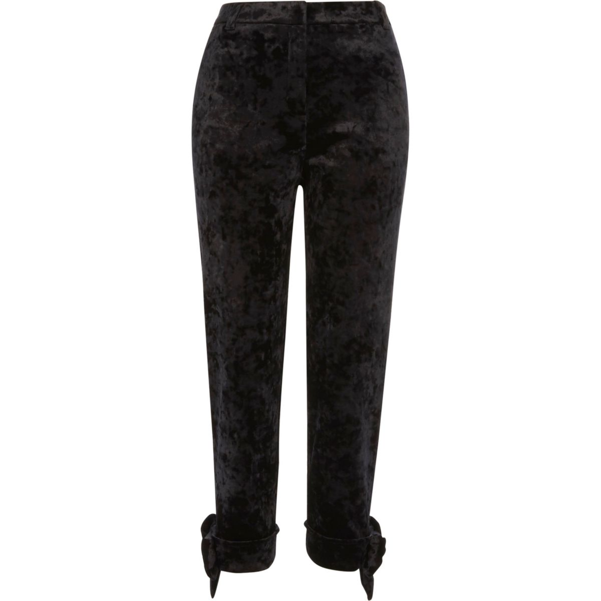 Black crushed velvet bow cigarette pants
