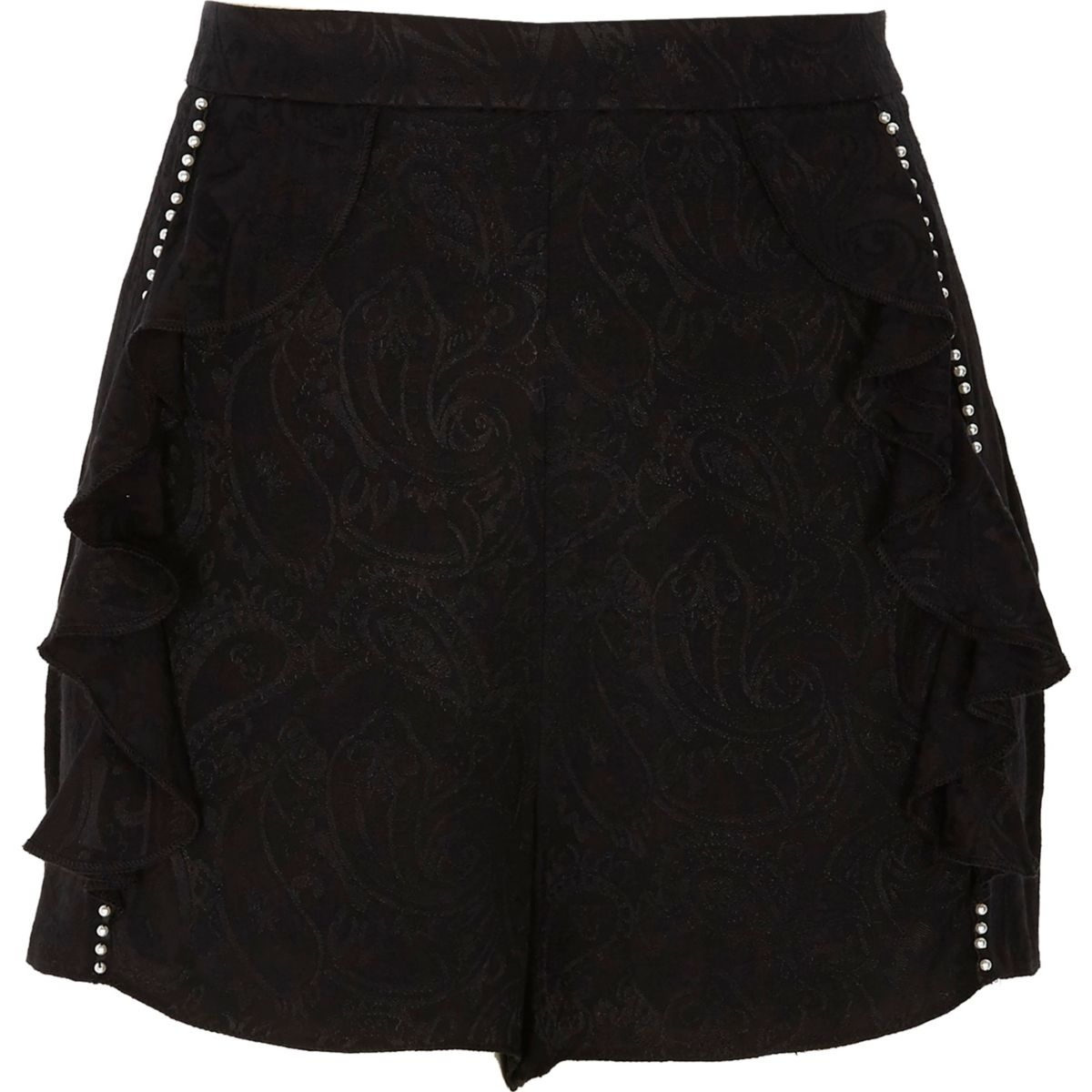 Black paisley pearl embellished frill shorts