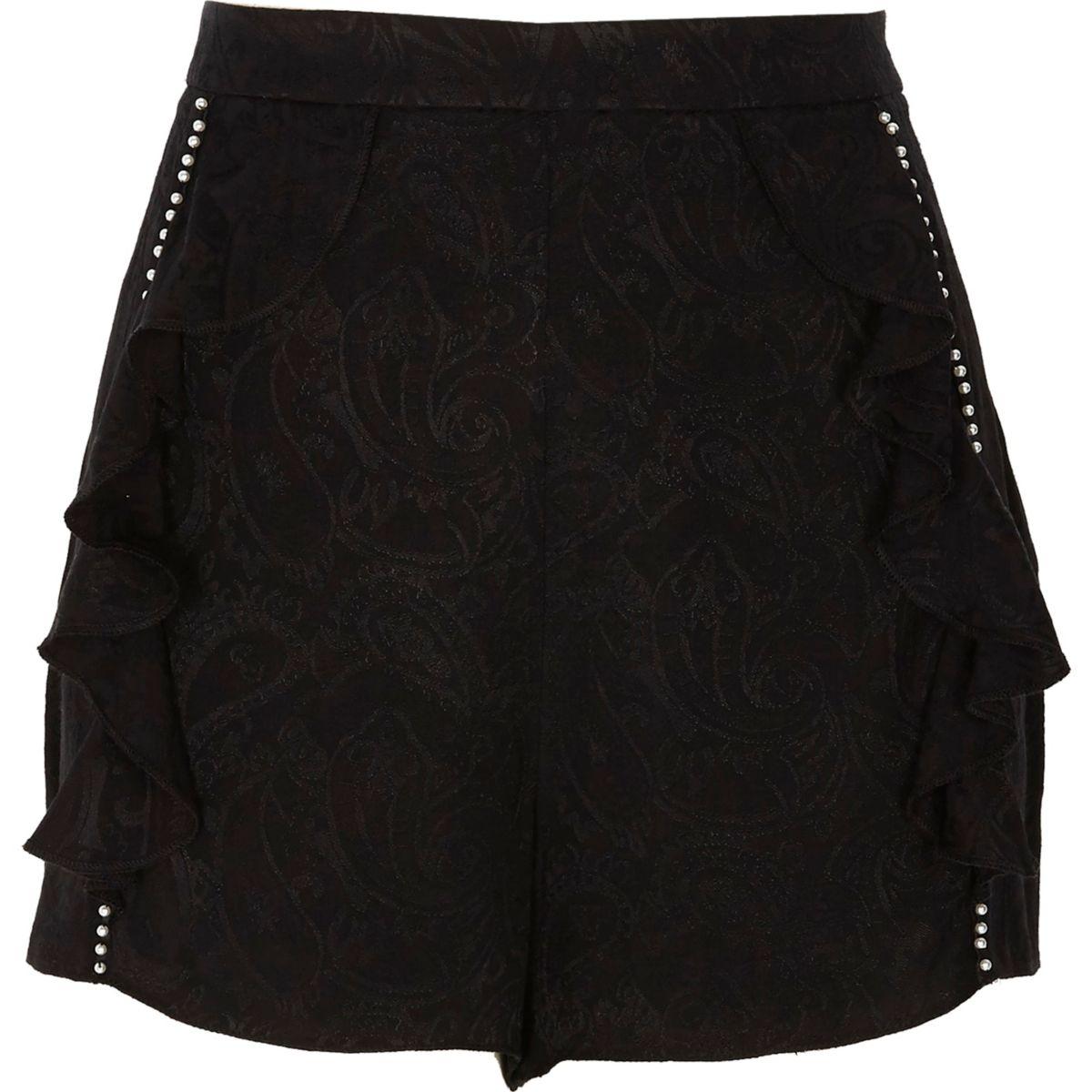 Black paisley pearl embellished frill shorts