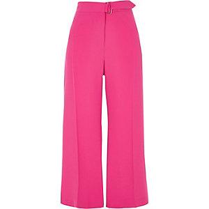 Jupe-culotte rose vif avec ceinture