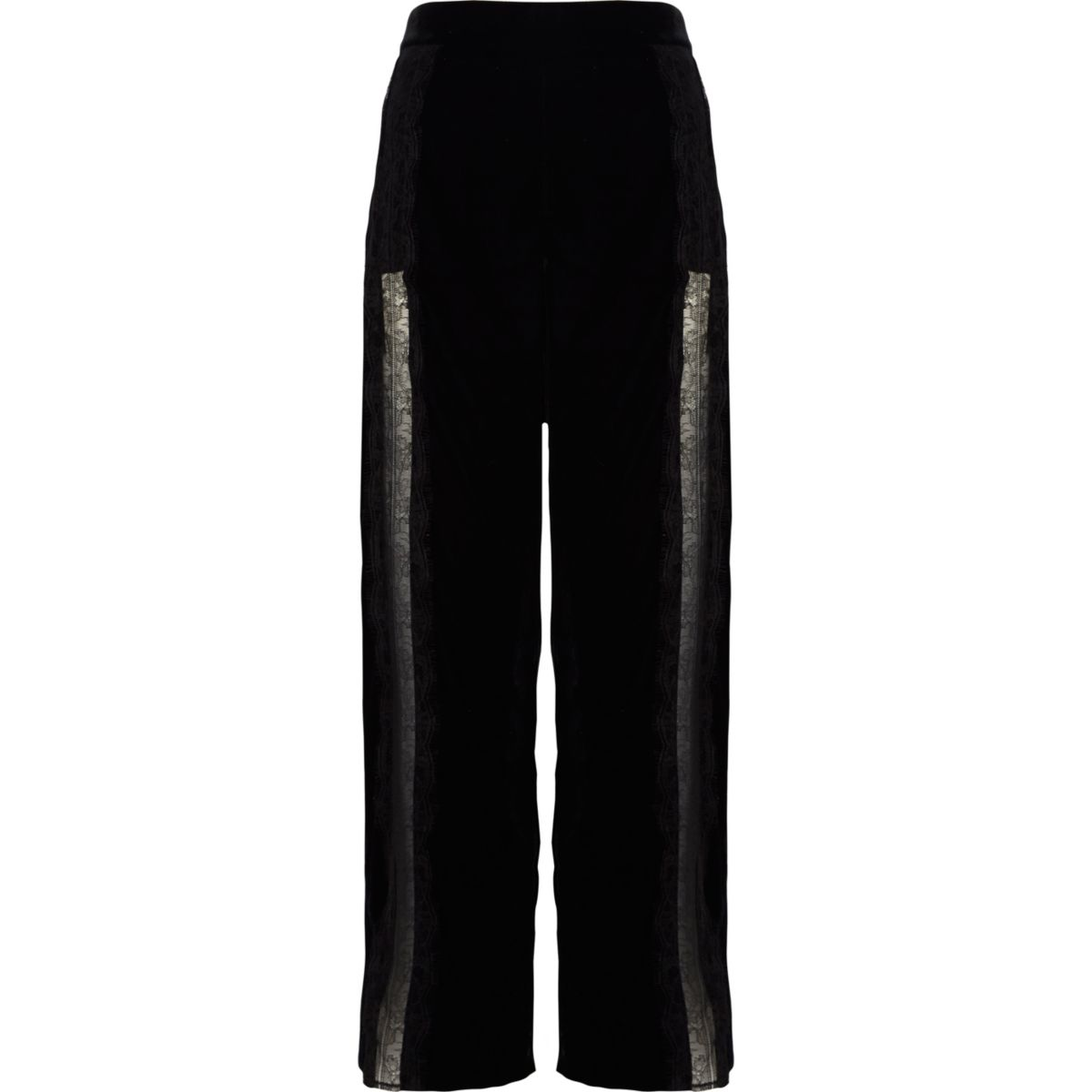 Black velvet lace trim wide leg trousers
