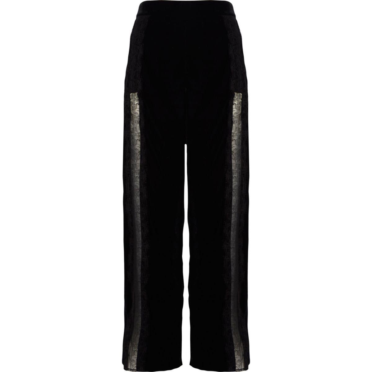 Pantalon large en velours noir à bordure en dentelle