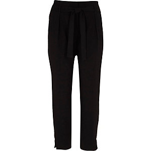 Black rhinestone trim tapered pants