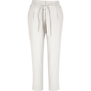 Beige diamante trim tapered trousers