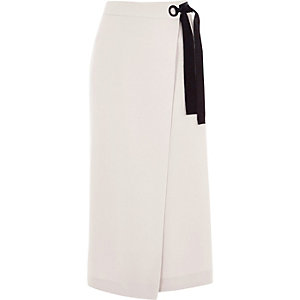 Light grey wrap front culottes