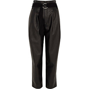 Black faux leather tapered trousers