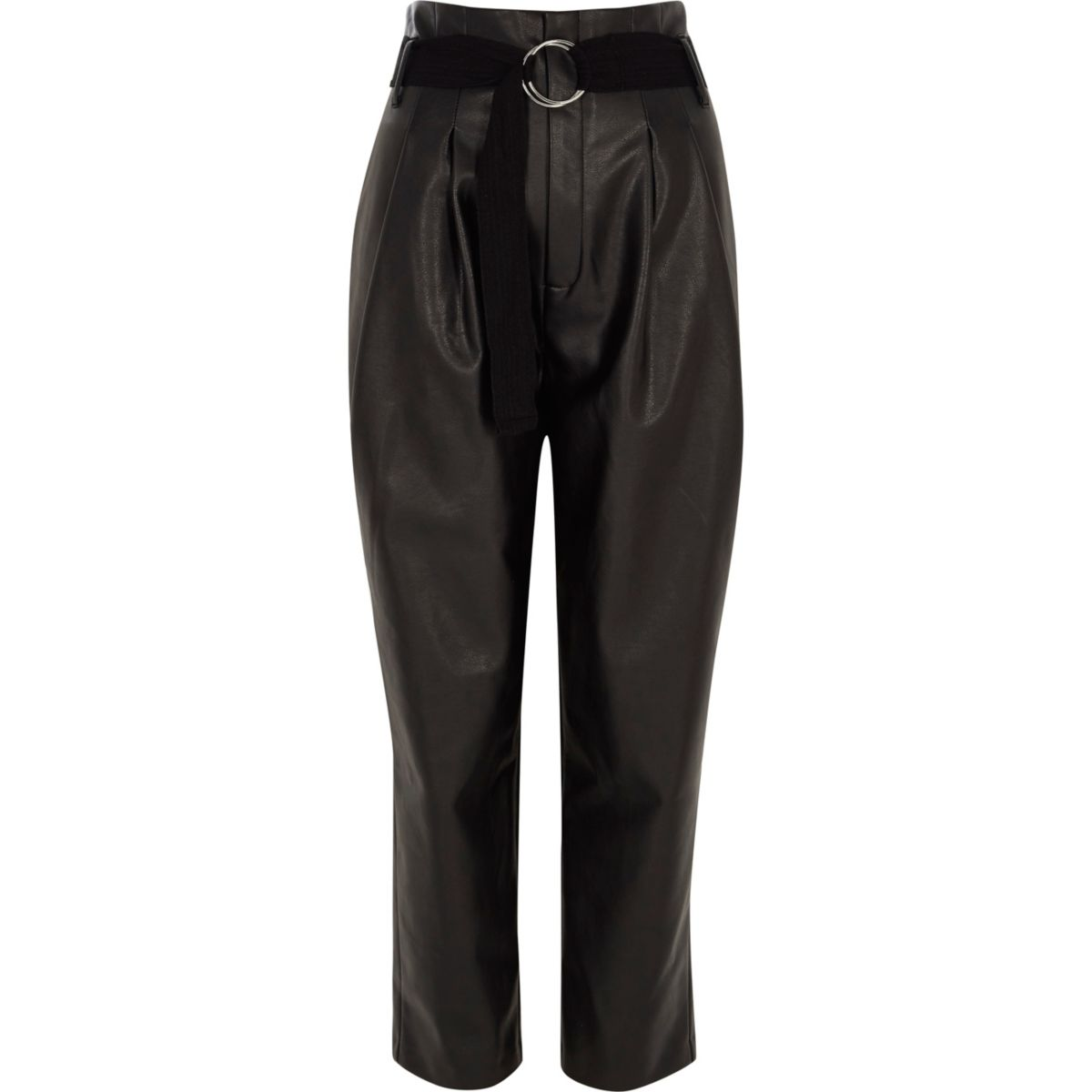 black faux leather tapered trousers trousers sale women