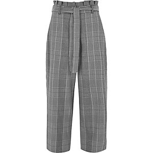 Black check paperbag waist culottes