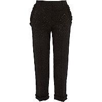 Black jacquard frill hem cropped trousers