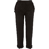 Black jacquard frill hem cropped pants