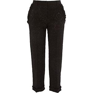 Zwarte cropped jacquard broek met ruches aan de zoom