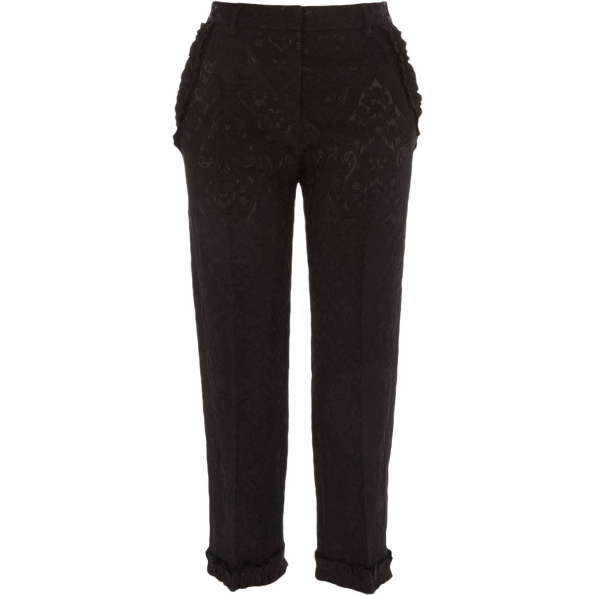 Pantalon court en jacquard noir à bordures à volants
