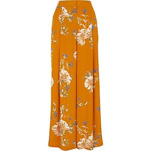 Orange floral print wide leg pants