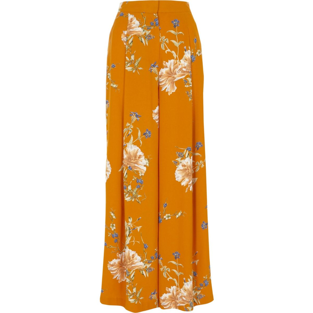 Orange floral print wide leg pants
